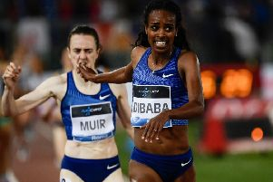 Ethiopia's Genzebe Dibaba beats Laura Muir to the line in the 1500m at the Diamond League in Rome. Picture: Filippo Monteforte/AFP/Getty