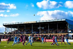 A general view of the main stand at Station Park, home of Forfar Athletic. Picture: SNS Group