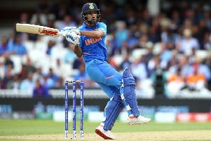 Shikhar Dhawan hooks during his innings of 117 as India beat Australia in London yesterday. Picture: PA.