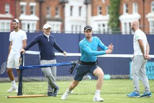 Andy Murray takes the strain during a practice session at Queen's Club ''as he steps up his comeback from hip surgery. Picture: Alex Morton/Getty Images for LTA