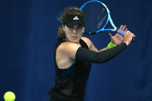 Glasgow's Maia Lumsden in action against Caroline Garcia. Picture: Nigel French/PA Wire