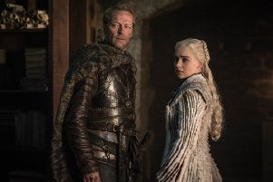 Iain Glen as Jorah Mormont and Emilia Clarke as Daenerys