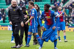 Inverness Caley Thistle manager John Hughes and Andrea Mbuyi-Mutombo celebrate their 2016 Scottish Cup draw at Easter Road. Picture: Craig Foy/SNS