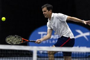 Tim Henman in action at at Gleneagles in the ATP Champions Tour. Picture: Alan Rennie
