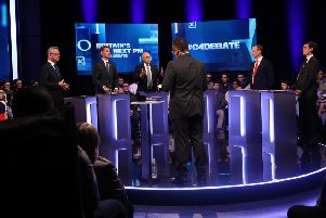 (left to right) Michael Gove, Jeremy Hunt, Sajid Javid, Dominic Raab and Rory Stewart during the live television debate on Channel 4. Picture: PA