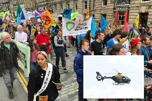 A police helicopter has been keeping watch on the protesters. Pic: TSPL