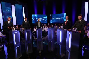 Boris Johnson was represented by an empty plinth at Sunday night's Tory leadership debate on Channel 4. Picture: PA