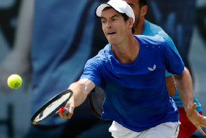 Andy Murray during a practice session at Queen's Club. Picture: Adrian Dennis/AFP/Getty