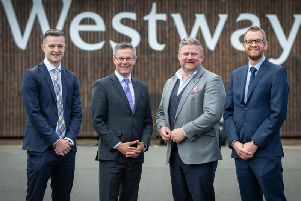 Craig Semple, associate director of Avison Young; Derek Mackay, MSP for Renfrewshire North and West; Simon Hannah, managing director of JW Filshill; and Andrew McCracken, director of JLL. Picture: Contributed