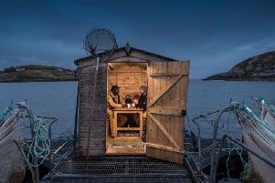 Optimal transport logistics require salmon farm workers, such as these at Mallaig, to harvest the fish at night.
