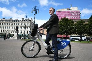 The first of 63 electric bikes that will be available for hire in Glasgow from September. Picture: John Devlin