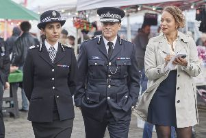Anjli Mohindra with Rob Lowe and Angela Griffin in Wild Bill, ITV's new crime comedy drama. Picture:'Patrick Smith, ITV