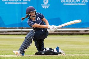 Kathryn Bryce, batting for Scotland, was encouraged by the success of the women's football team.  Photograph: Donald MacLeod