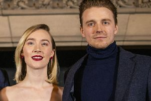 Jack Lowden with Saoirse Ronan at the Scottish Premiere of Mary Queen of Scots.