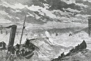 Boats tossed on stormy sea. (Photo by Hulton Archive/Getty Images)