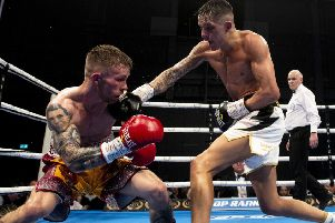 Lee McGregor lands a right-hander on the way to his victory over Scott Allan on Saturday. Picture: SNS.
