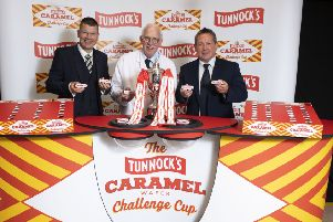 SPFL chief executive Neil Doncaster, left, Sir Boyd Tunnock and Billy Dodds at the Challenge Cup draw. Picture: Craig Foy/SNS