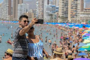 Benidorm's Vegas-like skyline appears like a mirage amid barren hills on the road from Alicante (Picture: Jose Jordan/AFP/Getty Images)