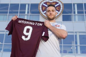 Conor Washington says he has no qualms about taking on Hearts' famous No 9 shirt. Picture: Ross MacDonald/SNS