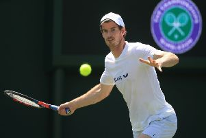Andy Murray practises at Wimbledon. Picture Adam Davy/PA Wire