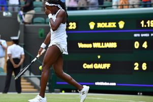 Cori Gauff struggles to hold back the tears as she celebrates defeating Venus Williams 6-4, 6-4. Picture: Getty.