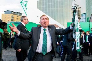 Sir Tom Farmer celebrates Hibs' historic Scottish Cup win in 2016