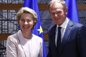 Germany's Ursula von der Leyen with European Council President Donald Tusk. Picture: AP