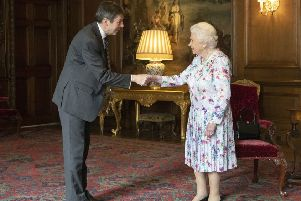 Queen Elizabeth meets Holyrood's presiding officer Ken Macintosh amid its 20th anniversary celebrations (Picture: Getty)