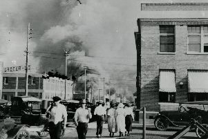 Tulsa in flames during the 1921 massacre.