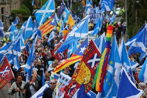 Pro-independence marchers in Glasgow. Picture: John Devlin