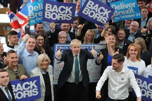 Boris Johnson with supporters. Picture: Getty