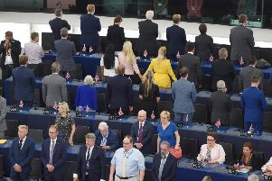 Brexit Party MEPs turn their backs as the EU's 'national anthem' ' Beethoven's Ode to Joy ' was played at the European parliament in Strasbourg. Picture: Getty