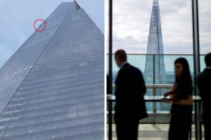 The man was spoken to by police after the stunt but not arrested when he was seen on the side of the skyscraper at around 5.15am on Monday. Picture: PA/ David Kevin Williams