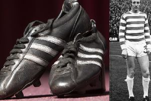 The boots which Tommy (right) wore in the 1967 European Cup final are up for auction.