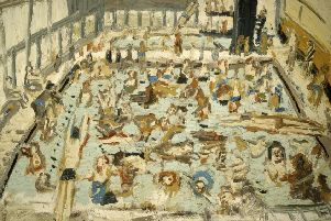 A painting of a London swimming pool by Leon Kossoff, supplied by Annely Juda Fine Art