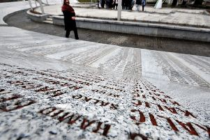 The Srebrenica memorial in Potocari contains the names of the 8372 victims of the genocide. Picture: AFP/Getty