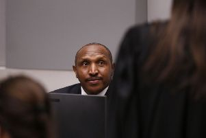 Former Congolese militia leader Bosco Ntaganda sits in the courtroom of the International Criminal Court (ICC) in The Hague. OUTEVA PLEVIER/AFP/Getty Images