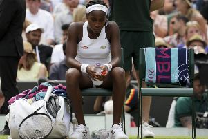 """A dejected Cori """"Coco"""" Gauff after losing to Simona Halep. Picture: Kirsty Wigglesworth/AP"""