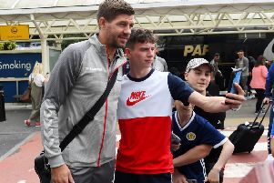 Rangers manager Steven Gerrard with a fan at Glasgow Airport. Picture: Gary Hutchison/SNS