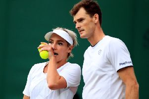 Jamie Murray and Bethanie Mattek-Sands talk tactics. Picture: Mike Egerton/PA Wire