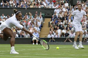 Serena Williams and  Andy Murray on their way to victory over Fabrice Martin and Raquel Atawo.