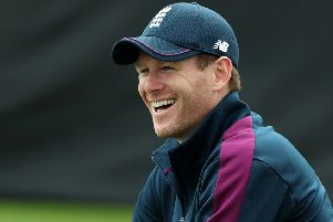Captain Eoin Morgan at an England net session at Edgbaston. Picture: David Rogers/Getty