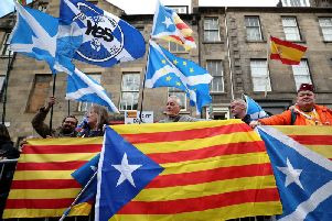 Demonstrators outside the Spanish Consulate in Edinburgh protest against the extradition to Spain of the former Catalan education minister Clara Ponsati in March 2018. Picture: PA