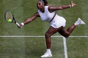 Serena Williams in action against Barbora Strycova. Picture: Alastair Grant/AFP