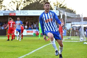 Stuart Findlay celebrates scoring Kilmarnock's late winner in Wales. Picture: Anthony Devlin/PA Wire