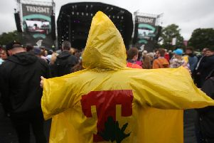 A T in the Park poncho at TRNSMT. Picture: PA