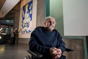 Alasdair Gray, pictured here in front of one his artworks at Glasgow's Lighthouse gallery, has long been a vocal supporter of Scottish independence. Picture: John Devlin