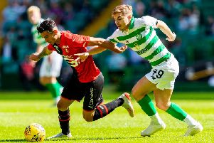 James Forrest in action against Rennes. Picture:SNS