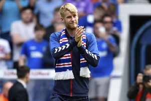 Rangers new signing Filip Helander is unveiled to the crowd at half-time. Picture: SNS