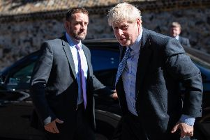 Conservative leadership candidate, Boris Johnson is seen arriving at a Westminster address on July 16, 2019 in London, England. (Photo by Luke Dray/Getty Images)